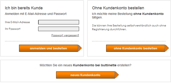 Buttinette Kundenlogin